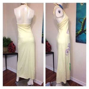Vintage Dresses - Vintage Cotton Pale Yellow Purple Iris Maxi Dress